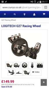 Logitech G27 steering wheel £149.99 @ Currys