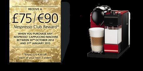 Purchase a Nespresso cappuccino machine and receive a £75/€90 CLUB REWARD