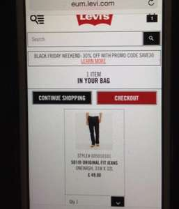Levi's 30% off Black Friday Weekend
