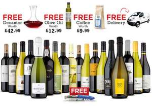 18 bottles of wine plus free extras (£146.26 for angels and £159.99 for everyone else) @ NakedWines (works out at £8 per bottle including champagne and port)