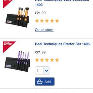 Buy one get one half price real techniques makeup brush sets @ boots - £32.98