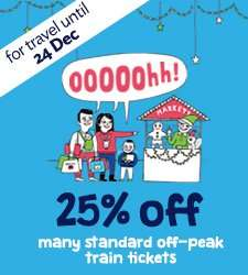 25% off many standard Off-Peak train tickets at SouthEastern when booking online