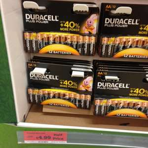 Duracell plus battery AA X 12 Was £9.99 Was £4.99 @ Sainsbury's
