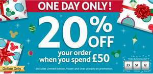 20% off for today only (Cyber Monday) @ Disney Store (online only) when you spend £50