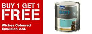 wickes Paint buy one get one free  Wickes Vinyl Coloured Emulsion £15.99/2.5ltr
