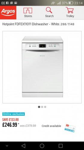 Hotpoint Dishwasher FDFEX11011 £246.99 @ Argos