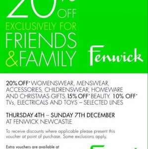 Fenwick newcastle 20% off friends and family event thurs - sun