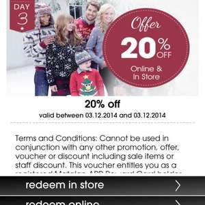 20% off instore and online @ Matalan (with reward card app)