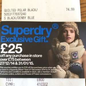 Superdry £25 off £75 spend voucher at till