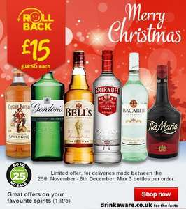 1 Litre / 70cl Bottles of Alcohol incl Smirnoff Vodka | Bells Whisky Now £15 each @ Asda