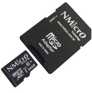 NMicro 64GB micro SD C1 Class 10 SDXC UHS-1 Flash memory card with Adapter @ Amazon