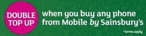 Double your first top up (up to £50 extra) with phones on Mobile by Sainsbury's