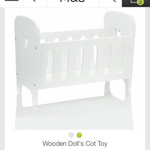 Wooden dolls cot £17.50 m&s
