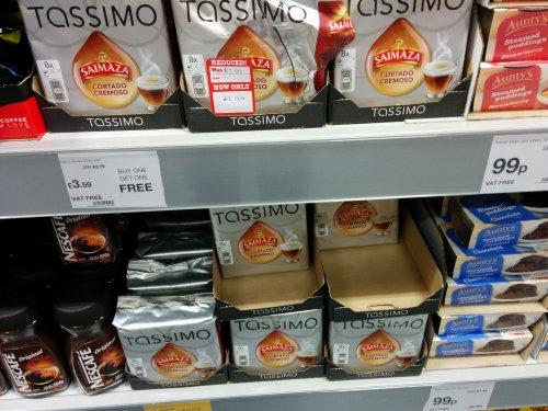 Tassimo Saimaza Cortado Cremoso discs £3.59 Buy 1 get 1 free @ JTF