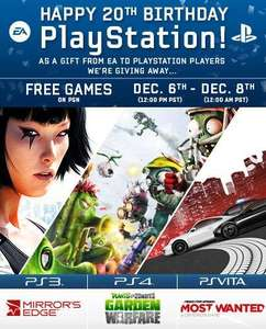 Mirrors Edge Ps3, Plants vs ZOmbies PS4, Need for speed most wanted on PS Vita All FREE Until tomorrow.