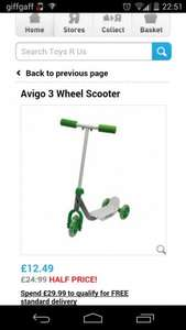 avigo 3 wheel scooter at toys r us now £12.49