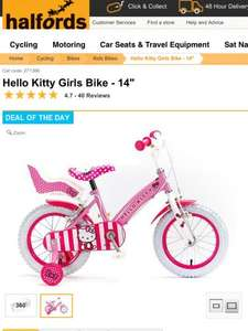 "Halfords deal of the day: hello kitty or Ben 10 14"" kids bike only £66 (Sunday 7dec only) or £59.40 using the code B15BK05 [click & collect"