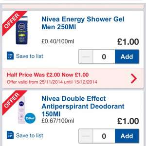Nivea Half price in Tesco. Women's and men's products