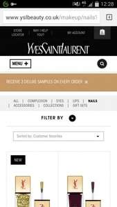 YSL recieve 3 free deluxe samples on every purchase @ YSL