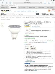 Integral LED Gu10 5 Watt LED Spotlight Bulb Cool White £2.75 each at amazon (add on item) order 4 for £6 delivered with a MasterCard (free delivery £10 spend/prime)