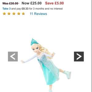 Ice skating Frozen dolls £25 at woolworths & in stock