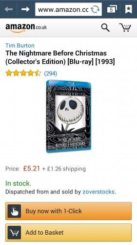 Blu ray The Nightmare before christmas £6.47  @ amazon/zoverstocks