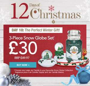 3 Piece Snow Globe Set ( Large Jar Candle + Topper + Sleeve) Plus Free Limited Edition Gift £30 @ Yankee Candle
