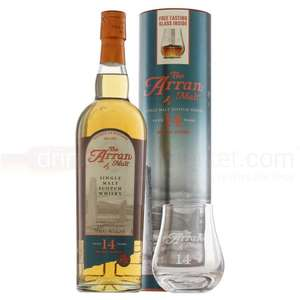 ARRAN 14 YEAR WHISKY 70CL + TUMBLER £43.84 delivered from drinksupermarket