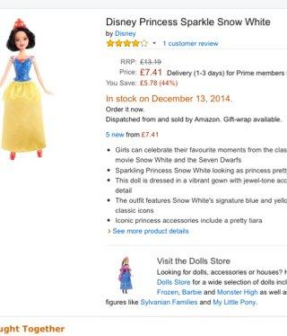 Sparkle Doll Disney Snow White/Belle £7.41 @ Amazon (free delivery £10 spend/prime)