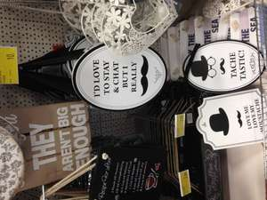 Moustache Wall Plaques & Pencils with Moustache toppers 10p @ B&M