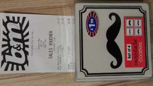 Moustache coasters scanning at 10p @ B&M