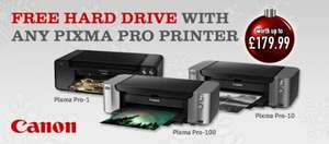 Free Intenso Memory 2 Move 1TB Wireless Hard Drive worth £129.99 with selected Canon Pixma pro printer's @ Jessops