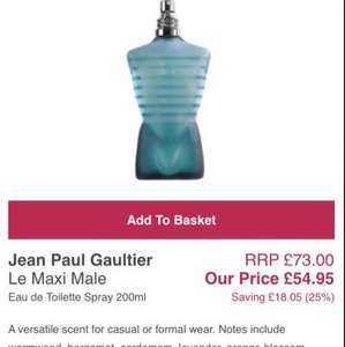 Jean Paul Gaultier Le Maxi Male 200ml £49.45 @ All Beauty