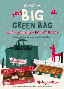 Free green bag when you Buy a double dozen @ Krispy Kreme