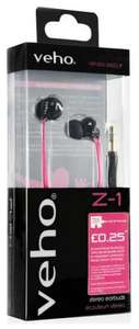 Veho Z1 360 Noise Isolating Earphones with Anti Tangle Cord - Breast Cancer Campaign Pink £4.99 @ Zavvi