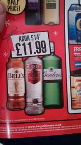 Bell's whiskey, Smirnoff vodka, Gordon's gin. 70cl all £11.99 at Bargain Booze.