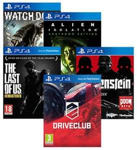 Watch Dogs, alien isolation, the last of us, driveclub and wolfenstein ps4 £90 @ rakuten / shopto using code