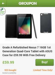Grade A Refurbished Nexus 7 16gb 1st Generation Tablet at Groupon for £59.99