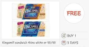 FREE Kingsmill White or 50/50 Sandwich Thins (6) via Checkoutsmart / Quidco.com - Clicksnap apps. £1 @ All Leading Supermarkets (potentially 21p profit)...