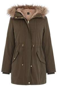 Oasis - The Bella Faux Fur Khaki Parka £65.59 including delivery @ OASIS