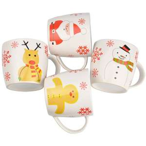 Christmas Novelty Mug Set (Adult Size) with Snowman, Gingerbread Man, Father Christmas and Rudolf the Reindeer Mugs - £6.99 delivered from ebay seller thinkprice
