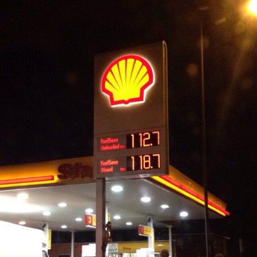 Unleaded 112.7p Diesel 118.7 @ Shell