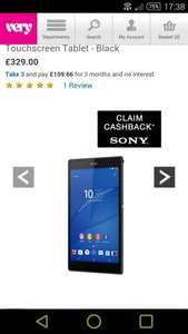 Sony Z3 compact Tablet. £329 with cashback is £234 @ very bnpl