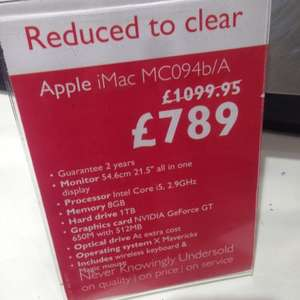 apple iMac mc094b/A £789 at john Lewis oxford St