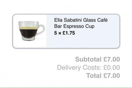 Glass espresso cups just £1.75 @ Divertimenti