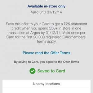 Amex offer - £25 statement credit on a £50+ spend at Argos