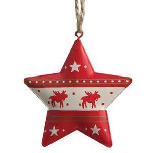 Red Reindeer Star Christmas Decoration from dotcomgifthop £1 + delivery