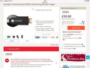 Google Chromecast at Tesco with 3 months Now TV entertainment and £15 Google play credit for £30