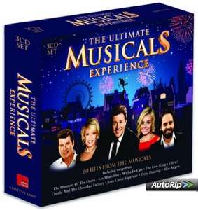 Amazon (add on)The Ultimate Musicals Experience CD & MP3 60 hits from all the musicals £4.49