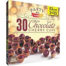 30 Chocolate Cherry Cups (270g) 2 for £5 party range @ Iceland